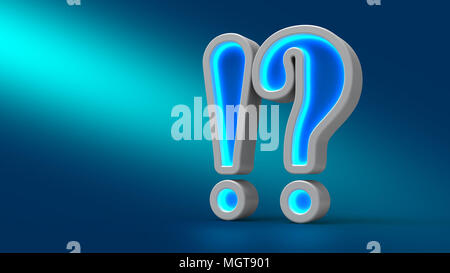 Néon lumineux grande question d'exclamation sur la table, sur fond bleu, 3d illustration. Pour concevoir des présentations. Banque D'Images