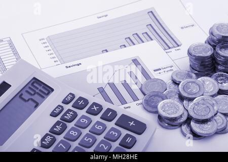 Une calculatrice assis sur certains graphiques étiquetés l'épargne et fonds avec quelques nouvelles (après 2016) pièces livre. Banque D'Images