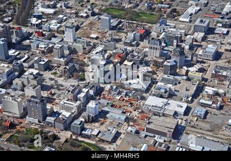 Christchurch, Nouvelle-Zélande - le 21 septembre 2011: Vue aérienne de Christchurch révèle dans quelle mesure l'avancement des démolitions et des capacités en cit Banque D'Images