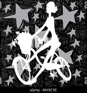 Silhouette blanche, fille de cyclistes sur étoile arrière-plan. Vector illustration of a Girl riding bicycle. Silhouette blanche sur fond noir avec des étoiles. Banque D'Images