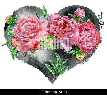 Coeur noir Aquarelle avec pivoines rouge, peint à la main Banque D'Images