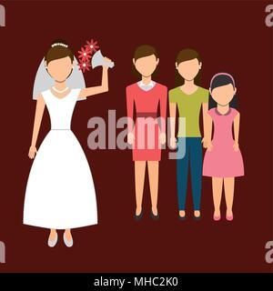 Woman throwing mariage bouquet, vector illustration graphique eps10 Banque D'Images