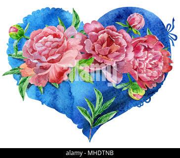 Coeur bleu aquarelle avec pivoines rouge, peint à la main Banque D'Images