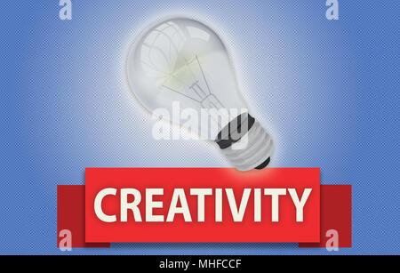 La créativité colorés concept avec bannière de texte rouge en rendu 3D et de l'ampoule du feu intérieur, isolée d'une lueur autour d'elle sur un fond bleu Banque D'Images