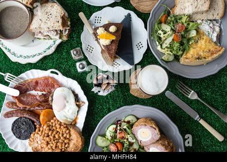 Cafe en plongée des aliments Banque D'Images