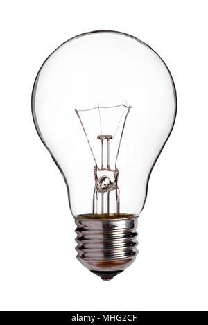 Vieille lampe tungstène, découper sur un fond blanc Banque D'Images