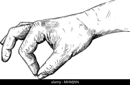 Vector illustration artistique ou un dessin de main tenant quelque chose de petit pincement des doigts entre Banque D'Images