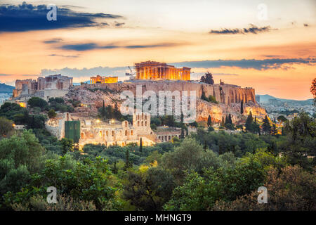 Le Parthénon, l'acropole d'Athènes, Grèce au lever du soleil Banque D'Images