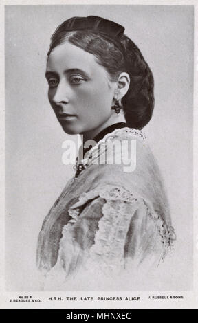 La princesse Alice, plus tard la princesse Louis de Hesse et de la grande-duchesse de Hesse et du Rhin (1843-1878), seconde fille de la reine Victoria. Date: vers 1870 Banque D'Images