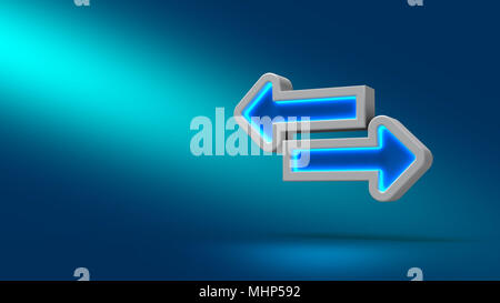 Tab arrowe sur fond bleu. 3d illustration. Pour concevoir des présentations. Banque D'Images