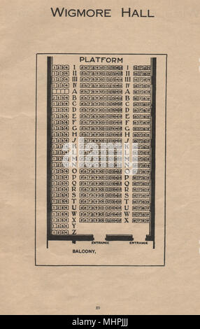 WIGMORE HALL. Vintage coin plan. Londres. Concert Hall 1936 old print Banque D'Images