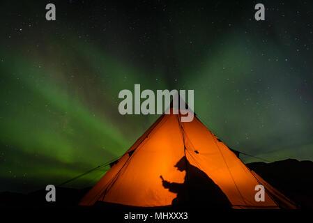 Camping-lecture à l'intérieur de tente, aurores boréales en arrière-plan, Narsaq, Vestgronland, Groenland Banque D'Images