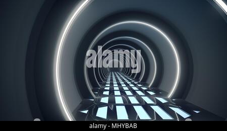De Rendu 3D réaliste, Corridor Science-fiction avec maille de grille phares sur marbre Banque D'Images