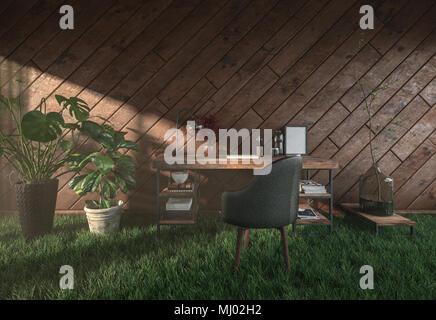 Eco-friendly inhabituelle bureau rustique dans une maison en bois avec bonheur-simple, un fauteuil et de plantes en pot debout sur l'herbe verte fraîche avec la lumière du soleil Banque D'Images