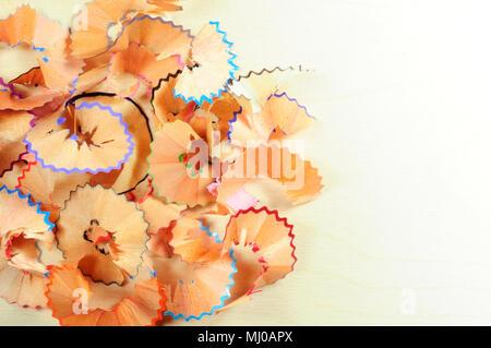Copeaux de crayon de couleur Banque D'Images