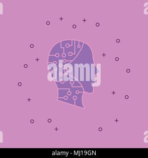 Tête robotique icône sur fond rose, design coloré. vector illustration Banque D'Images