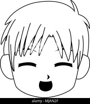 Manga Boy Visage Dessin Anime Sur Les Couleurs Noir Et Blanc