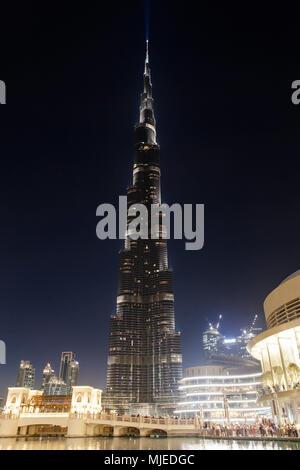 Dubaï, Burj Khalifa la nuit Banque D'Images