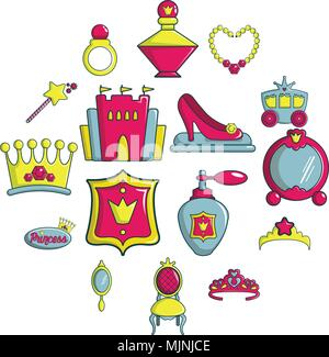 Poupée princesse icons set, cartoon style Banque D'Images