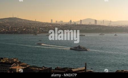 Vue panoramique de la partie asiatique d'Istanbul et le Bosphore Banque D'Images