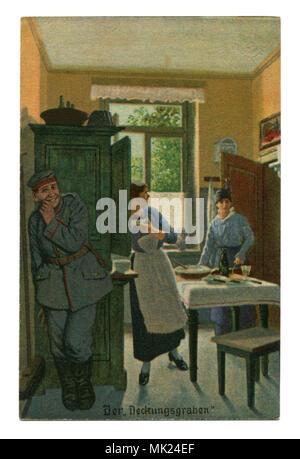 Ancienne carte postale militaire allemand:-série humoristique 'Toujours' professionnel, № 6 'tranchée'. La première guerre mondiale 1914-1918, Allemagne