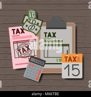 Tax day set icons Banque D'Images