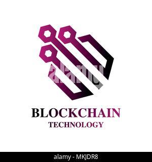 La technologie de l'Blockchain ligne colorée round vector illustration sur fond blanc Banque D'Images