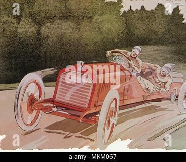 Deux en voiture de course rouge
