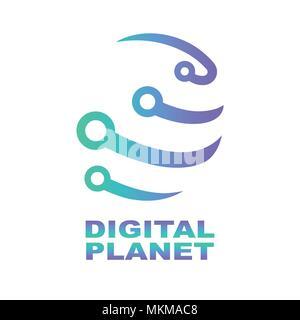 World Tech Modèle de conception de logo. Réseau, la technologie numérique. Abstract concept de forme numérique pour les technologies modernes Banque D'Images