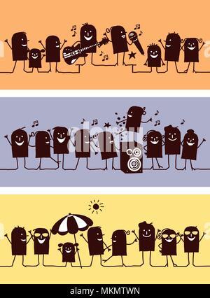 Cartoon Caractères Silhouette célébrations - Set 2 Banque D'Images