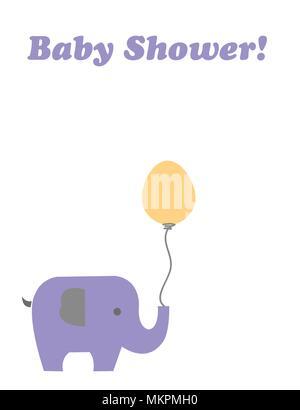 Carte de douche de bébé avec elephant cartoon holding un ballon