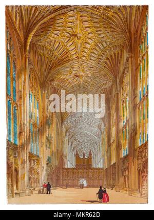 King's College est la chapelle du King's College de l'Université de Cambridge. Il est considéré comme l'un des plus beaux exemples d'architecture gothique perpendiculaire tardif anglais. La chapelle a été construite en plusieurs phases par une succession de rois de l'Angleterre de 1446 à 1515, une période qui a duré la guerre des Deux-Roses. La grande chapelle vitraux ont été terminées qu'en 1531, et son jubé Renaissance précoce a été érigée en 1532-36. La chapelle est un lieu de culte, et la maison du King's College Choir. Banque D'Images