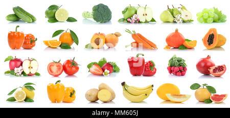 Fruits Fruits et légumes collection isolated pomme orange carottes tomates raisins couleurs sur un fond blanc
