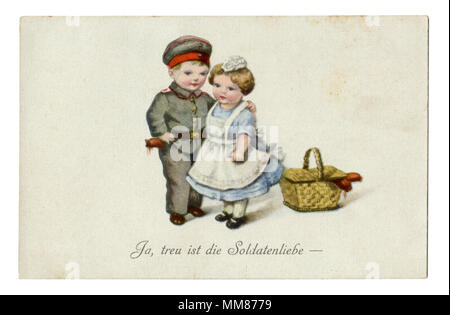 """Ancienne carte postale militaire allemand:-série humoristique les enfants comme des adultes """"Oui, fidèle à la vie de soldat."""" la première guerre mondiale, 1914-1918, Allemagne"""