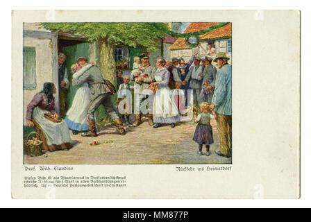 Ancienne carte postale allemande: retour du soldat accueil, rencontre chaleureuse avec sa femme et sa famille. Les fêtes de village. la première guerre mondiale 1914-1918, Allemagne