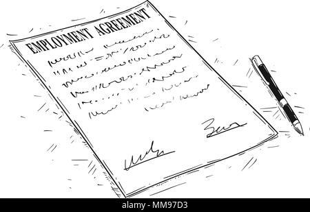Dessin Artistique vecteur Illustration de stylo et contrat de travail Document à signer Banque D'Images