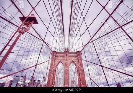 Tons vintage photo du pont de Brooklyn, New York City, USA. Banque D'Images