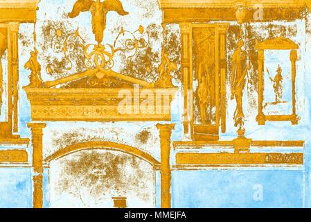 Détail fresque (rendu en PS), de l'Agripa's Villa de la Farnesina (chambre / cubiculum B), Rome, Italie Banque D'Images