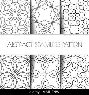 Le noir et blanc abstrait sans contour. Style Oriental Banque D'Images