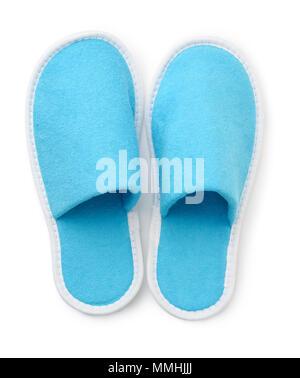 Vue de dessus du bleu doux chaussons isolated on white Banque D'Images