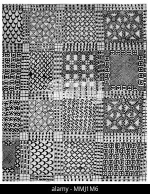 . Anglais: tissu Adinkra deuil recueillis par Thomas Edward Bowdich en 1817. Bowdich obtient ce tissu de coton à Kumasi, une ville du centre-sud du Ghana. Les motifs ont été imprimés à l'aide de calebasses sculptées des timbres et un colorant à base de légumes. Ce plus ancien exemple de l'art adinkra et dispose de quinze estampillé de symboles, y compris l'nsroma (STARS), double (ntoasuo dono Dono batterie), et les diamants. British Museum. . 18e siècle, recueillies en 1817. photo de travail 2D de plus de 100 ans tissu Adinkra Banque D'Images