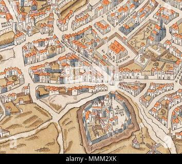 . Anglais: Détail de la 1550 Truschet Hoyau et plan de Paris montrant une partie de la rive gauche de la Seine avec l'abbaye de Saint-Germain-des-Prés (moitié inférieure juste à droite du centre), la Foire Saint-Germain (ci-dessus et plus à droite), l'église Saint-Sulpice (coin supérieur droit), et de l'ancien mur de la ville avec deux portes (coin supérieur gauche) . vers 1550. Olivier Truschet, graveur (?) Germain Hoyau, designer (?) et l'abbaye de Foire Saint-Germain - détail 1550 Truschet Hoyau et plan de Paris Banque D'Images