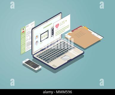 Concept d'ordinateur portable médical