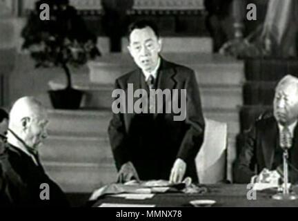 . Anglais: Kim Kyu-sik 회의 중인 한국어: 민주의원에서 김규식 부의장(1946년 2월) 13194602 Kim Kyu-sik Banque D'Images