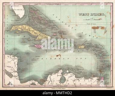 . Anglais: c'est souhaitable de Finley 1827 site des Antilles et des Caraïbes. Montre la plus grande et Petites Antilles, ainsi que les Bahamas et des parties de l'espagnol. Les îles sont des codes de couleur en fonction de leurs prestataires européens. Présente les villes, des forts, des baies, des rivières, des routes, et certaines caractéristiques topographiques. Les Bahamas, il Guanaham ou Finley identifie l'île Cat, le premier terrain dans le Nord d'être aperçue par Christophe Colomb. Mille balances et titre en quadrant supérieur droit. Gravée par les jeunes et pour l'édition 1827 Delleker de Anthony Finley's Atlas général . Antilles.. 1827 (sans date). 1827 F
