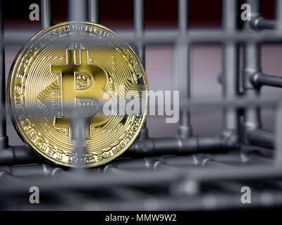 La pièce est dans la couleur gris nick mis sur une table en bois. Le concept d'investissement et de fluctuation et cryptocurrency bitcoin. Banque D'Images