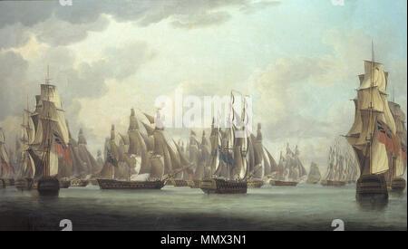 """. Le retrait de l'Escadron du Contre-amiral Linois composée du 'Marengo' de 84 canons, la """"Belle Poule"""" et """"emillante"""" de 44 canons chacun, une corvette de 28 canons et un brick batave de 18 canons d'une flotte de 16 de la East India Company ships après l'action de l'AOR Pulo Chine Mer le 15. Février 1804 Le Commodore Dance, a célébré l'action contre une escadre française dans le détroit de Malacca sur 15ème. Février 1804. Après 1804. Robert Dodd - Le Commodore Dance, a célébré l'action contre une escadre française Banque D'Images"""