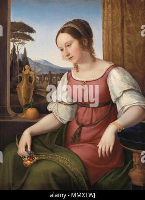 Anglais: Portrait d'une jeune femme romaine (Angelina) Magtti . 1818. Friedrich Wilhelm von Schadow - Portrait d'une jeune femme romaine (Angelina) Magtti - WGA20938