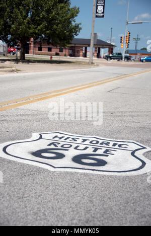 Panneau peint sur la Route 66, l'Illinois Banque D'Images