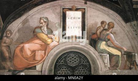 . Fresque de la Chapelle Sixtine, Michel-Ange, l'un des ancêtres du Christ . 1509. Michelangelo (1475-1564) Noms alternatifs MICHELANGELO DI LODOVICO BUONARROTI SIMONI Italien Description peintre, sculpteur, architecte, poète et inventeur Date de naissance/décès 6 Mars 1475 18 février 1564 Lieu de naissance/décès Caprese Michelangelo Rome à partir de la période de travail jusqu'à 1487 lieu de travail 1564 Florence (1487-1494), Bologne (1494-1496), Rome (1496-1501), Florence (1501-1505), Rome (1505-1506), Florence (1506-1508), Rome (1508-1516), Florence (1516-septembre 1529), Venise (septembre 1529-Novembe Banque D'Images